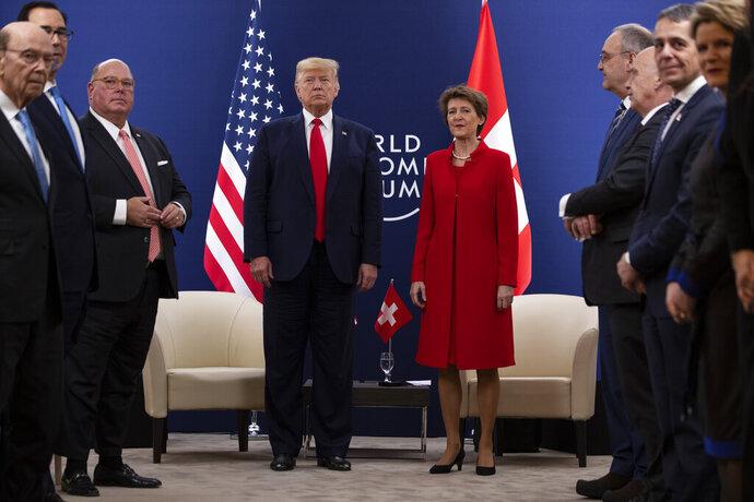 President Donald Trump meets with Swiss President Simonetta Sommaruga at the World Economic Forum, Tuesday, Jan. 21, 2020, in Davos, Switzerland. (AP Photo/ Evan Vucci)