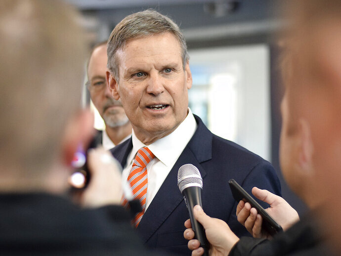 FILE - In this Jan. 7, 2020, file photo, Tennessee Gov. Bill Lee speaks to the media during a tour of Cleveland High School in Cleveland, Tenn. Lee's administration has invoked executive privilege multiple times to withhold documents from public records requests, even though such privilege is not defined in the state's law, nor mentioned in its constitution. (Robin Rudd/Chattanooga Times Free Press via AP, File)