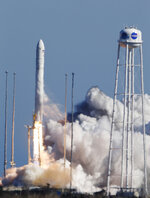The Antares rocket lifts off the launch pad at NASA Wallops Flight Facility in Wallops Island, Va., Wednesday, April 17, 2019. The rocket has cargo for the International Space Station. (AP Photo/Steve Helber)