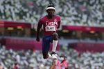 Will Claye, of United States, competes in the final of the men's triple jump at the 2020 Summer Olympics, Thursday, Aug. 5, 2021, in Tokyo. (AP Photo/David J. Phillip)