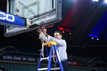 Iona coach Rick Pitino cuts the net after Iona's win in an NCAA college basketball game against Fairfield during the finals of the Metro Atlantic Athletic Conference tournament Saturday, March 13, 2021, in Atlantic City, N.J. (AP Photo/Matt Slocum)