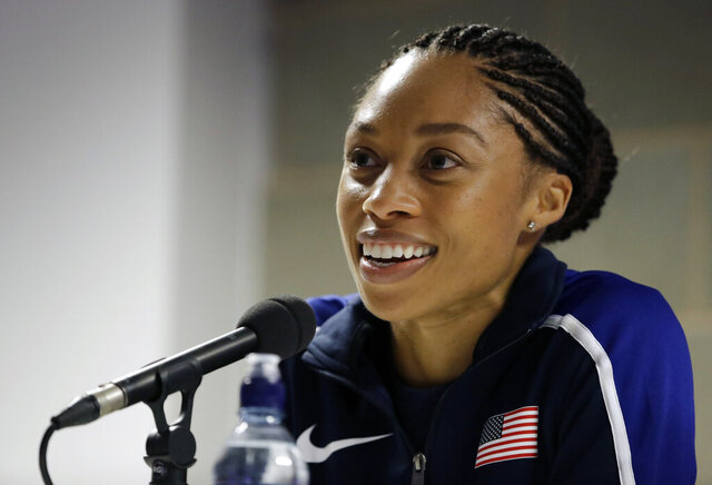 FILE - In this Aug. 3, 2017, file photo, United States' Allyson Felix speaks during a press conference of the U.S. team prior to the World Athletics Championships in London. Early in her career, Allyson Felix would shy away from speaking on controversial subjects. The nine-time Olympic medalist stayed in her lane. Not anymore. Not since the birth of her daughter, Camryn. Felix wants her legacy to be improving maternity rights for athletes over her times and gold medals.