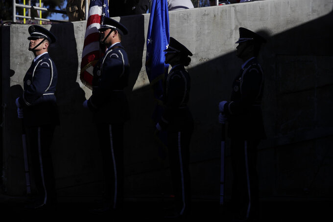 The color guard waits to do the national anthem before the Rose Bowl NCAA college football game between Ohio State and Washington Tuesday, Jan. 1, 2019, in Pasadena, Calif. (AP Photo/Jae C. Hong)