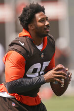 Cleveland Browns defensive end Myles Garrett is shown during an NFL football practice, Saturday, July 31, 2021, in Berea, Ohio. (AP Photo/Tony Dejak)