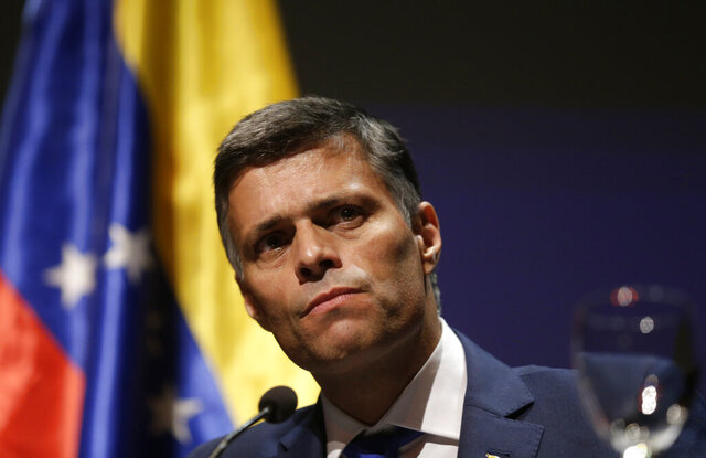 Venezuelan opposition leader Leopoldo Lopez takes part on a news conference in Madrid on Tuesday, Oct. 27, 2020. Prominent opposition activist Leopoldo López who has abandoned the Spanish ambassador's residence in Caracas and left Venezuela after years of frustrated efforts to oust the nation's socialist president is holding a news conference in Madrid. (AP Photo/Andrea Comas)