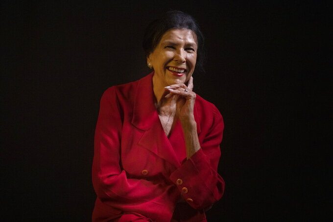 FILE - In this Sept. 6, 2019 file photo, filmmaker Alanis Obomsawin is photographed at the Toronto International Film Festival in Toronto. Filmmakers Obomsawin and Denis Villeneuve are among those being honored at the Toronto International Film Festival this September. TIFF co-heads Joana Vicente and Cameron Bailey said Thursday, July 22, 2021, that Obomsawin will be honored with the Jeff Skoll Award in Impact Media at the 2021 TIFF Tribute Awards. (Chris Young/The Canadian Press via AP, File)