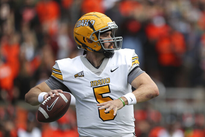 Idaho quarterback Mike Beaudry (5) throws a pass during the first half of an NCAA college football game against Oregon State on Saturday, Sept. 18, 2021, in Corvallis, Ore. (AP Photo/Amanda Loman)