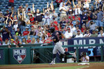 Cleveland Indians' Francisco Lindor runs the bases after his two-run home run against the Los Angeles Angels during the second inning of a baseball game Wednesday, Sept. 11, 2019, in Anaheim, Calif. (AP Photo/Marcio Jose Sanchez