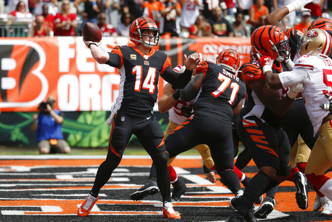 Cincinnati Bengals quarterback Andy Dalton passes during the first half an NFL football game against the San Francisco 49ers, Sunday, Sept. 15, 2019, in Cincinnati. (AP Photo/Frank Victores)