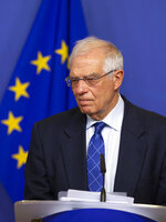 European Union foreign policy chief Josep Borrell speaks during a media conference after an extraordinary meeting of the EU college of commissioners at EU headquarters in Brussels, Wednesday, Jan. 8, 2020. European Union foreign policy chief Josep Borrell briefed the college on Wednesday regarding the current situation in Libya and Iran. (AP Photo/Virginia Mayo)