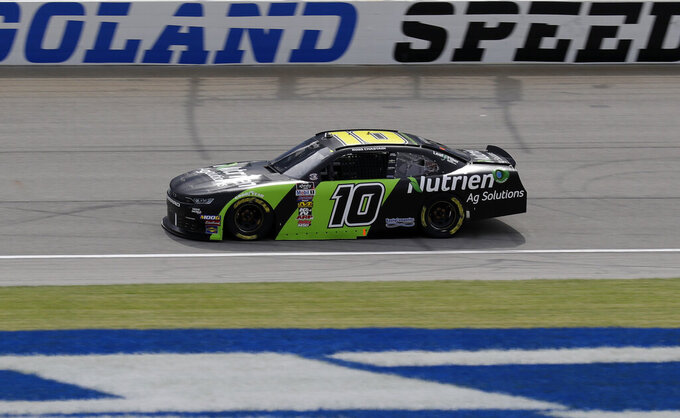 Ross Chastain drives on the track during a NASCAR Xfinity Series auto race practice at Chicagoland Speedway in Joliet, Ill., Friday, June 28, 2019. (AP Photo/Nam Y. Huh)