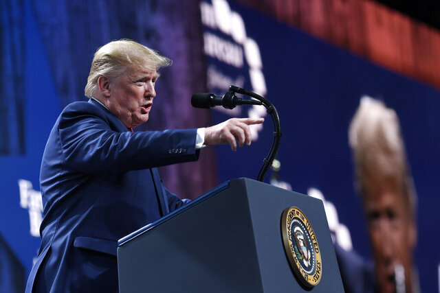 President Donald Trump speaks at the American Farm Bureau Federation's convention in Austin, Texas, Sunday, Jan. 19, 2020. (AP Photo/Susan Walsh)
