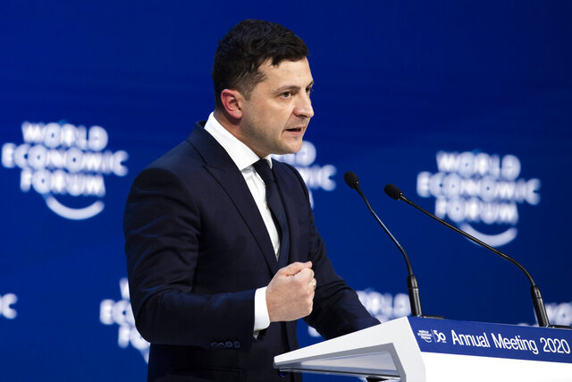 Volodymyr Zelenskiy, President of Ukraine, speaks during a plenary session during the 50th annual meeting of the World Economic Forum, WEF, in Davos, Switzerland, Wednesday, Jan. 22, 2020. (Gian Ehrenzeller/Keystone via AP)