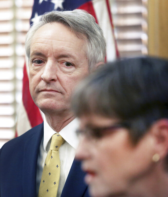 Jeffry Jack is shown in this March 15, 2019 photo. Democratic Gov. Laura Kelly has withdrawn Jack's nomination to the Kansas Court of Appeals on Tuesday, March 19, 2019 in the face of opposition in the Republican-controlled state Senate. (Thad Allton/The Topeka Capital-Journal via AP)