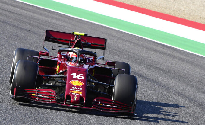 Ferrari driver Charles Leclerc of Monaco steers his car during the Formula One Grand Prix of Tuscany, at the Mugello circuit in Scarperia, Italy, Sunday, Sept. 13, 2020. (Jennifer Lorenzini, Pool via AP)