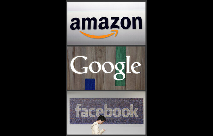 FILE - This photo combo of images shows the Amazon, Google and Facebook logos. An international debate over how countries tax big U.S. technology companies such as Google, Amazon and Facebook is heating up. It's a challenge for the new U.S. Biden Administration, since talks face a mid-year deadline to reach a global deal that all agree on _ and defuse trade disputes with France and other countries that are imposing go-it-alone taxes the U.S. sees as discriminatory. (AP Photo, file)