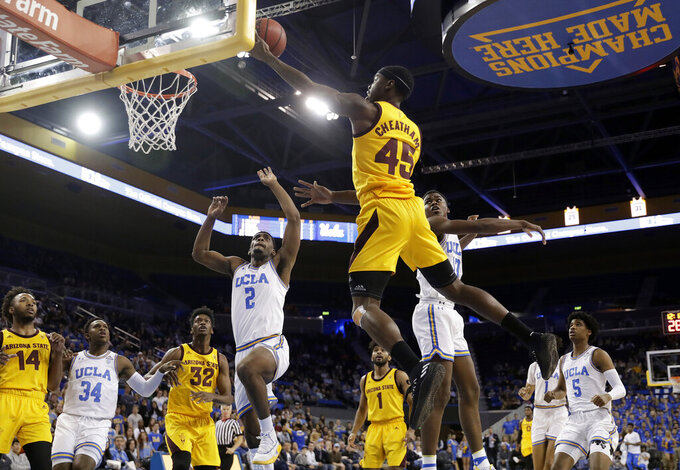 Arizona State forward Zylan Cheatham (45) drives to the basket during the first half of the team's NCAA college basketball game against UCLA on Thursday, Jan. 24, 2019, in Los Angeles. (AP Photo/Marcio Jose Sanchez)