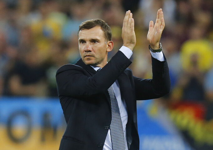FILE - In this Friday, June. 7, 2019. Filer, Ukraine's head coach Andriy Shevchenko reacts during the Euro 2020 group B qualifying soccer match between Ukraine and Serbia at the Arena Lviv stadium in Lviv, Ukraine. (AP Photo/Efrem Lukatsky, File)
