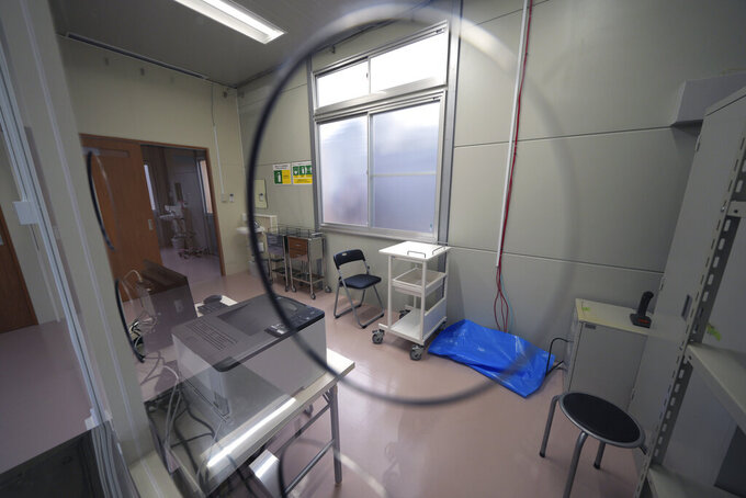 A room of fever clinic is seen at the Tokyo 2020 Olympic and Paralympic Village Sunday, June 20, 2021, in Tokyo. (AP Photo/Eugene Hoshiko)