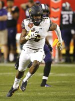 California safety Jaylinn Hawkins runs with the ball after intercepting a TCU pass during the first half of the Cheez-It Bowl NCAA college football game Wednesday, Dec. 26, 2018, in Phoenix. (AP Photo/Ross D. Franklin)