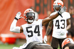 Cleveland Browns linebacker Anthony Walker signals a penalty against the offense during NFL football practice at the team's training facility, Wednesday, June 9, 2021, in Berea, Ohio. (AP Photo/Ron Schwane)