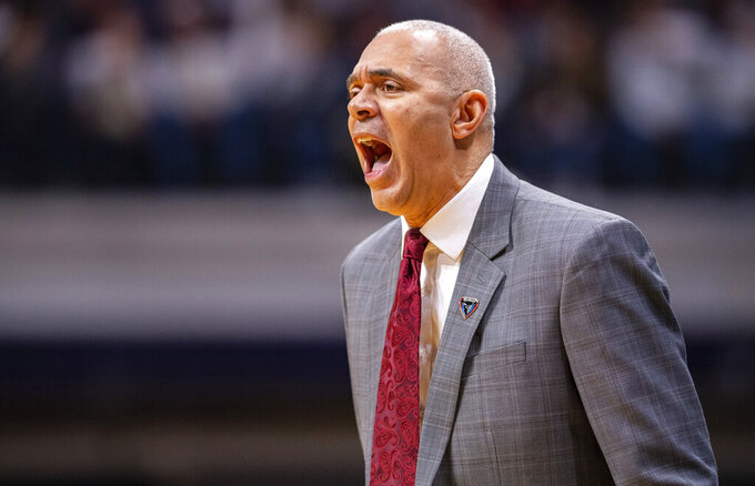 DePaul head coach Dave Leitao reacts to the action on the court during the first half of an NCAA college basketball game against Butler, Saturday, Feb. 29, 2020, in Indianapolis. (AP Photo/Doug McSchooler)