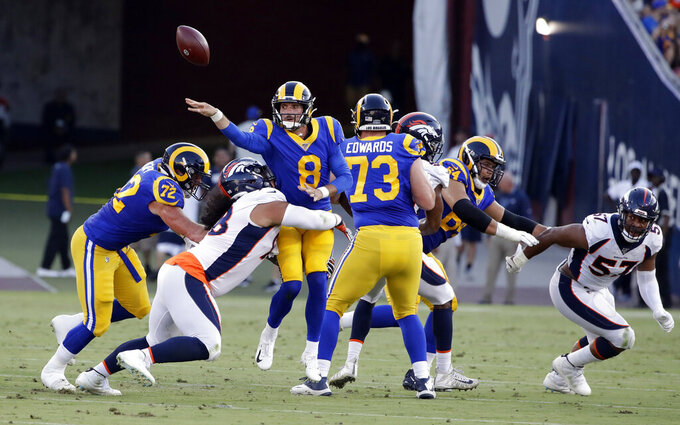 Los Angeles Rams quarterback Brandon Allen throws under pressure against the Denver Broncos during the first half of an NFL preseason football game Saturday, Aug. 24, 2019, in Los Angeles. (AP Photo/Rick Scuteri)