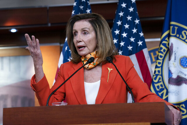 Speaker of the House Nancy Pelosi, D-Calif. speaks during a news conference Thursday, Sept. 24, 2020 on Capitol Hill in Washington. (AP Photo/Jose Luis Magana)
