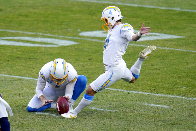 Los Angeles Chargers kicker Mike Badgley (4) kicks a field goal as punter Ty Long holds during the first half of an NFL football game against the Denver Broncos, Sunday, Nov. 1, 2020, in Denver. (AP Photo/Jack Dempsey)
