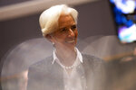 New President of European Central Bank Christine Lagarde arrives to a Finance Ministers Eurogroup meeting at the European Council headquarters in Brussels, Friday, Nov. 8, 2019. (AP Photo/Francisco Seco)