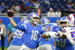 Detroit Lions quarterback Jared Goff throws during the first half of a preseason NFL football game against the Buffalo Bills, Friday, Aug. 13, 2021, in Detroit. (AP Photo/Carlos Osorio)