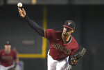 Arizona Diamondbacks pitcher Jon Duplantier throws against the Los Angeles Angels in the first inning during a baseball game, Sunday, June 13, 2021, in Phoenix. (AP Photo/Rick Scuteri)