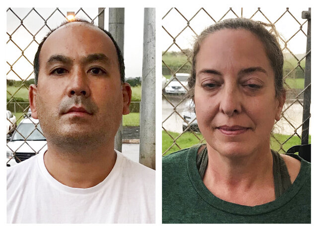 This photo combination of images provided by the Kauai Police Department shows Wesley Moribe, left, and Courtney Peterson, in Lihue, Hawaii, on Nov. 29, 2020. Authorities say the couple were arrested at a Hawaii airport after traveling on a flight from the U.S. mainland despite knowing they were infected with COVID-19. The Kauai Police Department says Moribe and Peterson were arrested on suspicion of second-degree reckless endangering. (Kauai Police Department via AP)