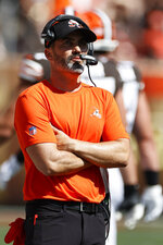 Cleveland Browns head coach Kevin Stefanski watches during the first half of an NFL football game against the Houston Texans, Sunday, Sept. 19, 2021, in Cleveland. (AP Photo/Ron Schwane)