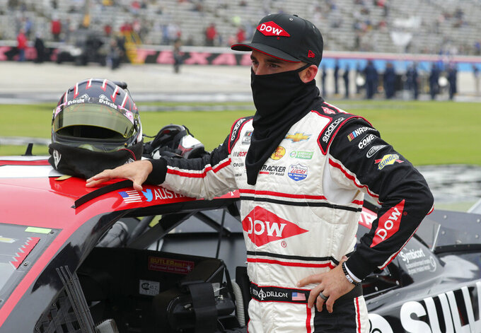 Austin Dillon (3) waits on the grid before a NASCAR Cup Series auto race at Texas Motor Speedway in Fort Worth, Texas, Sunday, Oct. 25, 2020. (AP Photo/Richard W. Rodriguez)