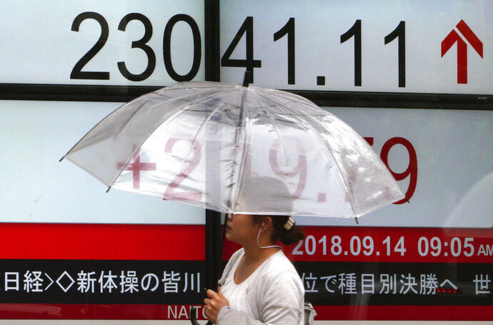 A woman walks past an electronic stock board showing Japan's Nikkei 225 index at a securities firm in Tokyo Friday, Sept. 14, 2018. Asian shares were mostly higher Friday, continuing their rally after gains on Wall Street and hopes that regional trade tensions may ease. (AP Photo/Eugene Hoshiko)