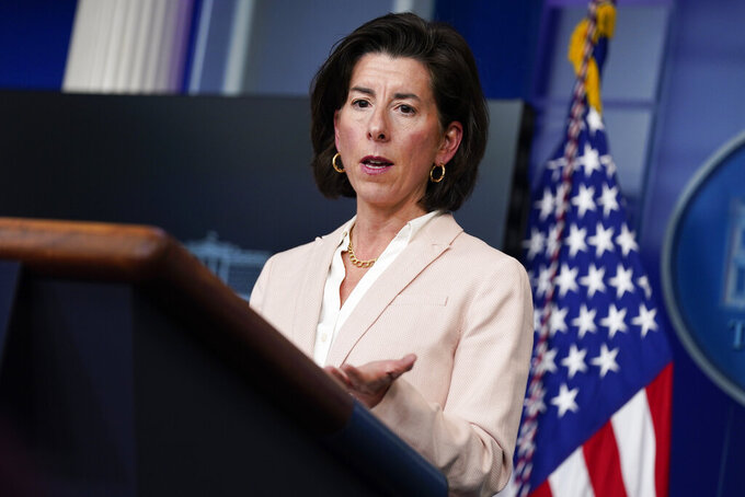 FILE - In this April 7, 2021, file photo Commerce Secretary Gina Raimondo speaks during a press briefing at the White House in Washington. Raimondo estimates she has talked to more than 50 business leaders about the $2.3 trillion infrastructure package that includes corporate tax increases, She is encouraging companies to focus on the entire package instead of the tax increases. (AP Photo/Evan Vucci, File)