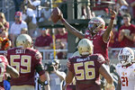 Florida State's James Blackman, upper right, celebrates with teammates after scoring against Louisiana-Monroe in the second quarter of an NCAA college football game Saturday, Sept. 7, 2019 in Tallahassee Fla. (AP Photo/Steve Cannon)