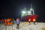 In this handout photo provided by British Antarctic Survey, the James Clark Ross research vessel departs at the start of the winter season in Antarctica in May 2020. Antarctica remains the only continent without COVID-19 and now in Sept. 2020, as nearly 1,000 scientists and others who wintered over on the ice are seeing the sun for the first time in months, a global effort wants to make sure incoming colleagues don't bring the virus with them. (Robert Taylor/British Antarctic Survey via AP)