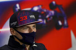 Red Bull driver Max Verstappen of the Netherlands speaks during a press conference ahead of Sunday's Formula One Turkish Grand Prix at the Intercity Istanbul Park circuit in Istanbul, Turkey, Thursday, Oct. 7, 2021.(Sedat Suna/Pool Photo via AP)