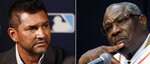 FILE - At left, in a Dec. 9, 2019, file photo, Washington Nationals manager Dave Martinez listens to a question during the Major League Baseball winter meetings in San Diego. At right, in a Jan. 30, 2020, file photo, Dusty Baker answers questions during a news conference as he is announced as the new Houston Astros manager, at Minute Maid Park in Houston. It will be the champs vs. the cheaters on Saturday night, Feb. 22, 2020, when the Nationals and Astros meet in their exhibition opener. The last time these teams played the Nationals were celebrating their World Series title in Houston. Since then the Astros have become the league's villains, with a sign-stealing scandal tarnishing their reputation and casting a shadow on their 2017 title. (AP Photo/File)