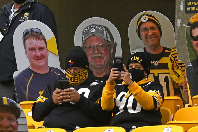 Pittsburgh Steelers fans sit in the stands during warmups before an NFL football game against the Cincinnati Bengals in Pittsburgh, Sunday, Nov. 15, 2020. (AP Photo/Don Wright)