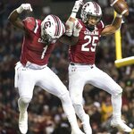 South Carolina running back A.J. Turner (25) and Deebo Samuel (1) celebrate a touchdown against Chattanooga during the first half of an NCAA college football game Saturday, Nov. 17, 2018, in Columbia, S.C. (AP Photo/Sean Rayford)
