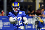 Los Angeles Rams tight end Johnny Mundt makes a catch during practice at the NFL football team's training camp Wednesday, July 28, 2021, in Irvine, Calif. (AP Photo/Marcio Jose Sanchez)