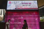 People walk past a bank's electronic board showing the Hong Kong share index at Hong Kong Stock Exchange Tuesday, Aug. 17, 2021. Asian stock markets declined Tuesday amid concern about turmoil in Afghanistan and unease about China's economic outlook after weak July activity. (AP Photo/Vincent Yu)