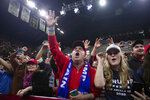 Supporters of President Donald Trump cheer as he arrives for a campaign rally at UW-Milwaukee Panther Arena, Tuesday, Jan. 14, 2020, in Milwaukee. (AP Photo/ Evan Vucci)