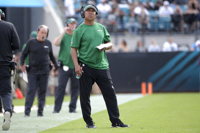 FILE - In this Oct. 27, 2019, file photo, New York Jets offensive assistant coach Hines Ward watches from the sideline during the second half of an NFL football game against the Jacksonville Jaguars in Jacksonville, Fla. Ward has been a popular guy this week — and he has the voicemails, texts and emails to prove it. The Steelers are coming to town and the former Pittsburgh wide receiver has been hearing from friends and former colleagues who hope to catch up with the  Jets' offensive assistant coach. (AP Photo/Phelan M. Ebenhack, File)