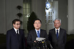 South Korean national security director Chung Eui-yong, center, speaks to reporters at the White House in Washington, Thursday, March 8, 2018, as intelligence chief Suh Hoon, left and Cho Yoon-je, the South Korea ambassador to United States listen. President Donald Trump has accepted an offer of a summit from the North Korean leader and will meet with Kim Jong Un by May, a top South Korean official said in a remarkable turnaround in relations between two historic adversaries(AP Photo/Susan Walsh)