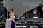 A public bus driver, right, and a pedestrian wear masks to help guard against the Coronavirus in downtown Tehran, Iran, Sunday, Feb. 23, 2020. On Sunday Iran's health ministry raised the death toll from the new virus to 8 people in the country, amid concerns that clusters there, as well as in Italy and South Korea, could signal a serious new stage in its global spread. (AP Photo/Ebrahim Noroozi)
