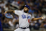Los Angeles Dodgers pitcher Darien Nunez delivers a pitch during the seventh inning of a baseball game against the New York Mets on Sunday, Aug. 15, 2021, in New York. (AP Photo/Adam Hunger)